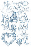 Wedding set of cute glamorous doodles Stock Images