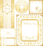 Wedding set. Golden backgrounds with lilies flower Stock Photo