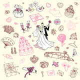 Wedding set. Hand drawn illustration. Royalty Free Stock Image