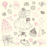 Wedding set. Hand drawn illustration. Royalty Free Stock Images