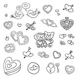 Wedding set. Hand drawn illustration. Royalty Free Stock Photo