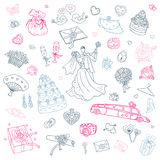 Wedding set. Hand drawn illustration. Stock Photos