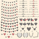 Wedding set of hearts, arrows, garlands, laurel, wreaths and lab Royalty Free Stock Images