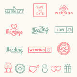 Wedding set icons and logos Stock Photo