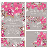 Wedding set. Invitation, save the date card, thank you cards