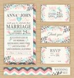 Wedding set. Wedding invitation template, thank you card, save the date, RSVP card. Wedding set Royalty Free Stock Photo