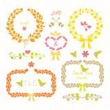 Wedding set. Laurel wreaths, arrows, hearts and flowers. Wedding romantic set in retro style Stock Photos