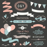 Wedding set. With laurels, calligraphic elements, rings, bows, ribbons, arrows, balloons and hearts Stock Photos