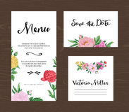 Wedding set. Menu, save the date, guest card. Royalty Free Stock Photography