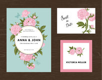 Wedding set. Menu, save the date, guest card. Stock Photos