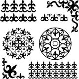 Set Kazakh Asian ornaments Stock Photography
