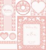 Wedding set. Pink backgrounds with roses. Ornamental frame for announcements, invitations, CD-disks, envelopes, labels, tags, greetings cards. Easily edited Royalty Free Stock Photo