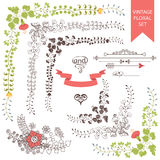 Wedding set retro floral items.Vector Design template. The wedding design templat set  in Retro style with floral items ,vignettes, ribbon. For Wedding Stock Photos