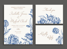Wedding set with spring flowers. Vintage wedding set with spring flowers in blue. Wedding invitation, thank you card. RSVP card. Parrot tulips, daisies, forget Royalty Free Stock Photos