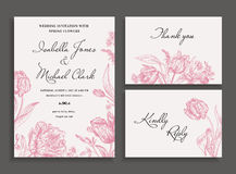 Wedding set with spring flowers. Vintage wedding invitation in a rustic style. Leather leaf fern. Botanical vector illustration. Black and white Royalty Free Stock Images