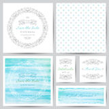 Wedding set. Wedding templates set with floral ornate elements and watercolor backgrounds Royalty Free Stock Photos
