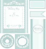 Wedding set. Turquoise background with roses Stock Photos
