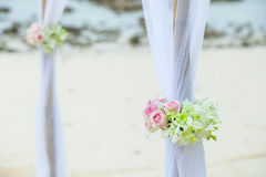 Wedding set up on the beach Stock Photo