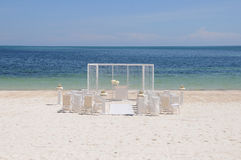 Wedding set up on the beach Stock Images