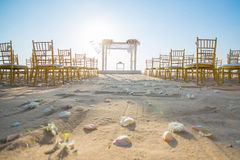 Wedding set up on beach Royalty Free Stock Photography