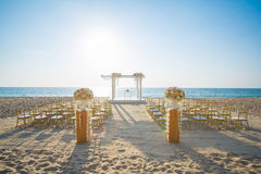 Wedding set up on beach Stock Images