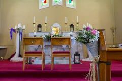 Wedding set up in Church. Ireland Royalty Free Stock Photos