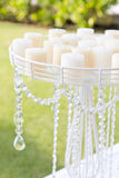Wedding set up in garden inside beach,candle and candlestick Royalty Free Stock Photo