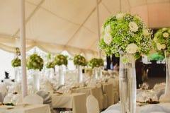 Wedding set up in garden inside beach Stock Photo
