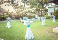 Wedding set up in the garden. Party set up stock images