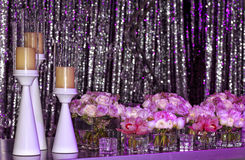 Wedding set-up. Wedding reception setup. Beautiful flowers decoration for wedding dinner with candles stock photos