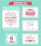 Wedding set. Vector illustration. Wedding invitation template, thank you card, save the date, RSVP card. Wedding set stock illustration