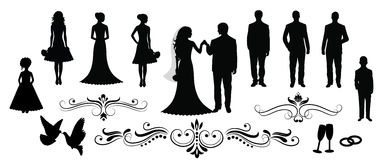 Wedding. Set of vector wedding silhouettes Stock Photos