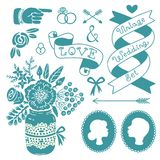 Wedding set of vintage design elements. Royalty Free Stock Photo
