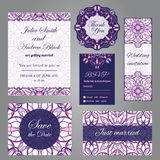 Wedding set in vintage ornamental style. Invitation; save the date card; thank you card; rsvp card; just married card Stock Photos