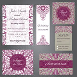 Wedding set in vintage ornamental style. Invitation; save the date card; thank you card; rsvp card; just married card Stock Images