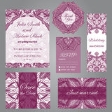 Wedding set in vintage ornamental style. Invitation; save the date card; thank you card; rsvp card; just married card Stock Photography