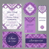 Wedding set in vintage ornamental style. Invitation; save the date card; thank you card; rsvp card; just married card Royalty Free Stock Image