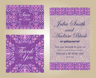 Wedding set in vintage ornamental style. Invitation; save the date card; thank you card Stock Image