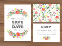 Wedding set with watercolor flowers and typographic elements. Royalty Free Stock Photography
