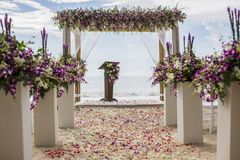 Wedding setting. On the beach royalty free stock photography