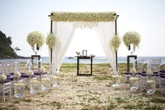 Wedding setting. On the beach royalty free stock images