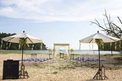 Wedding setting. On the beach royalty free stock photos