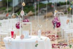 Wedding setting. On the beach Stock Photos