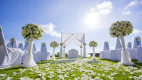 Wedding setting ceremony. Out Door Wedding setting Royalty Free Stock Photos
