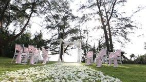 Wedding setting in garden stock video