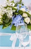 Wedding setting. Lovely wedding or social event table decoration with wine glasses in the foreground Stock Photography