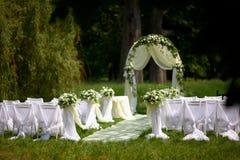 Wedding setting on the park Stock Image