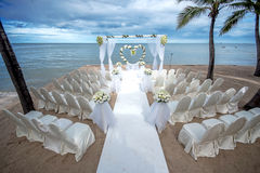 Wedding setting on a tropical beach Stock Images