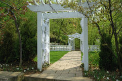 Wedding Setup. With garden archway and path stock images