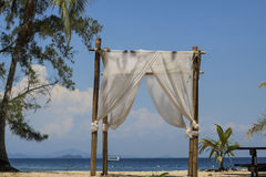 Wedding setup at beach. Wedding setup at Manukan Island Sabah Royalty Free Stock Image